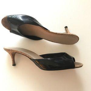 Charles David Shoes - Charles David Black Patent Leather Mules Size 11
